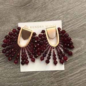 NWT Kendra Scott maroon beaded starburst earrings
